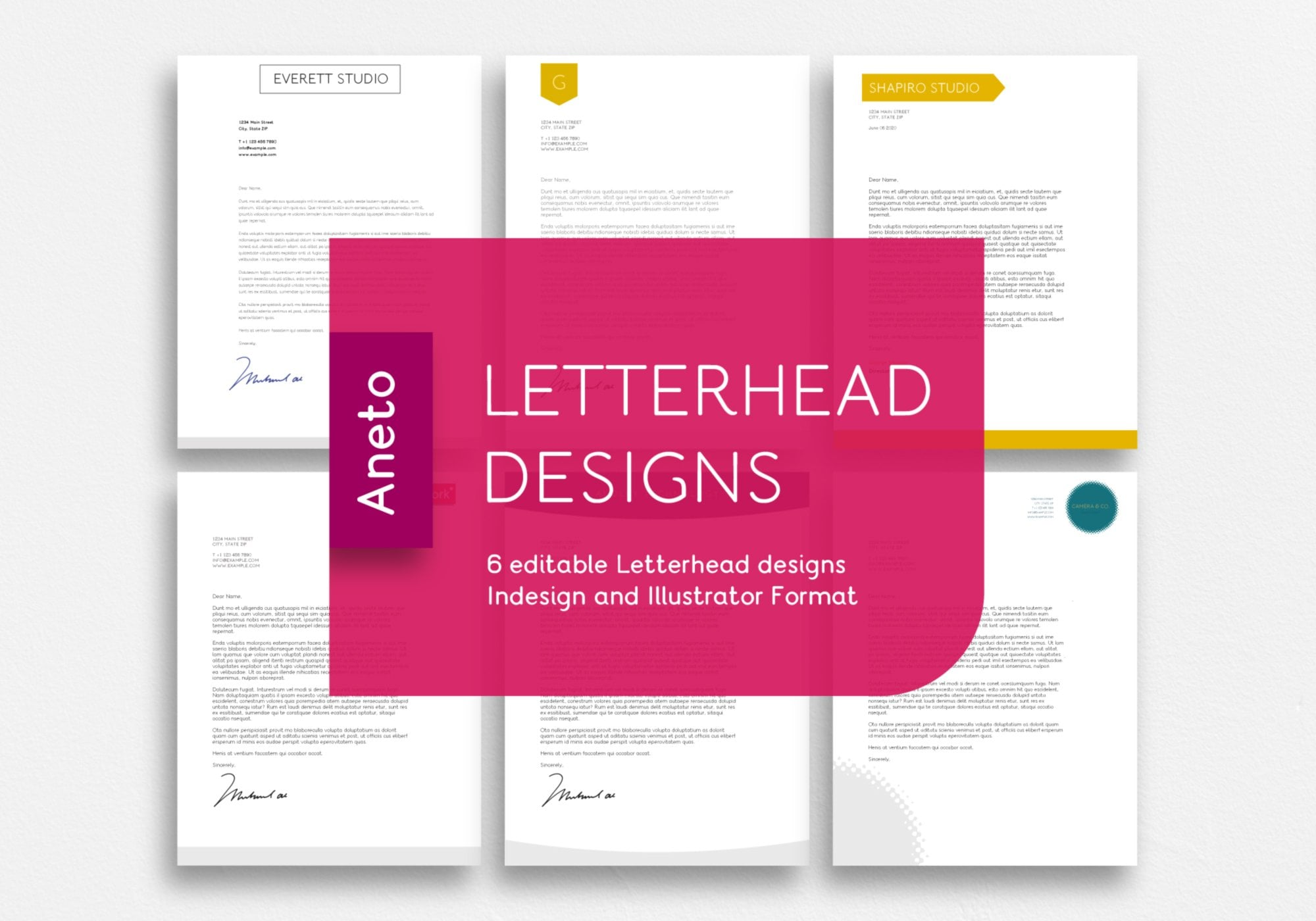 Editable Letterhead designs using aneto font