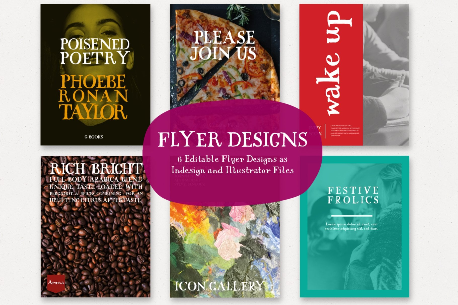 Flyer Designs, Editable using Baird font