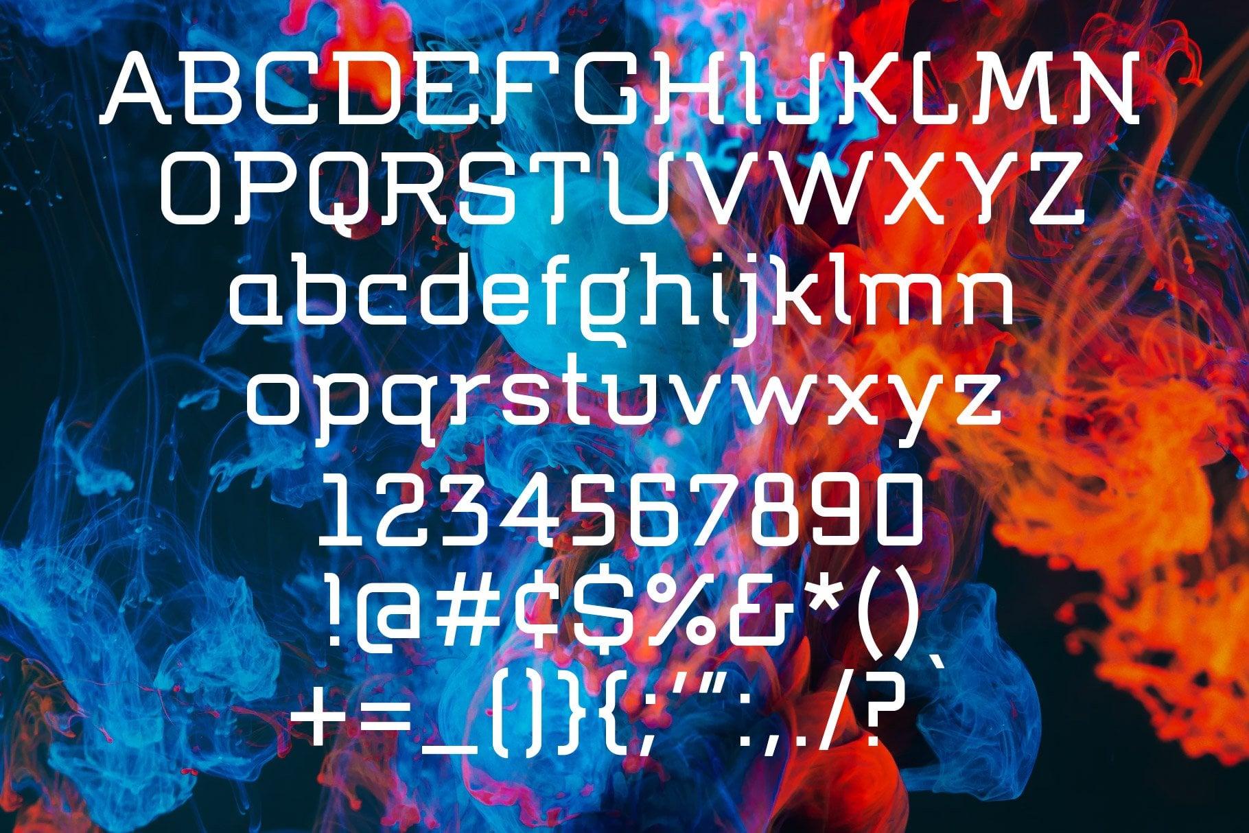 Alphabet of Tech font Flumen
