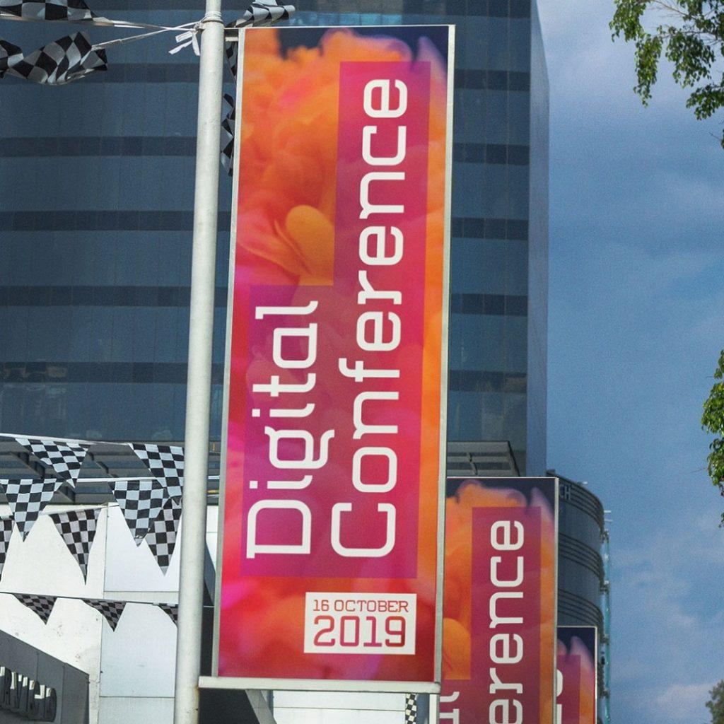 Digital Conference Signage in Flumen Font