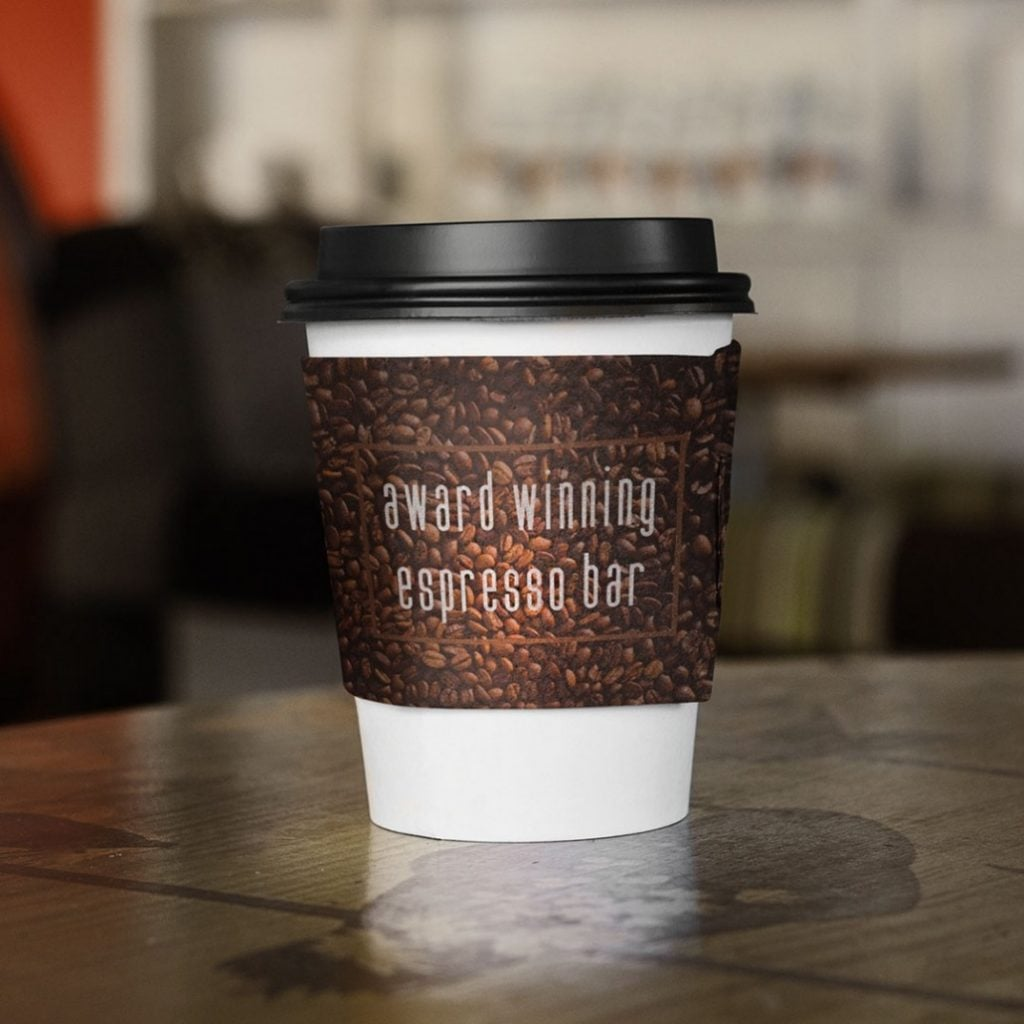 Jabre Condensed Typeface on coffee cup packaging